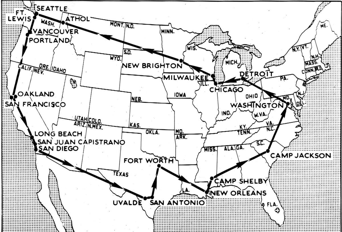 President Franklin D. Roosevelt would make a secret two-week 8700 mile trip across the country to visit military bases and armaments plants. He would travel by train and motorcade. The press would not report on the trip until after he returned to Washington D.C. October 2, 1942 Associated Press Wirephoto from the U.S. Navy,