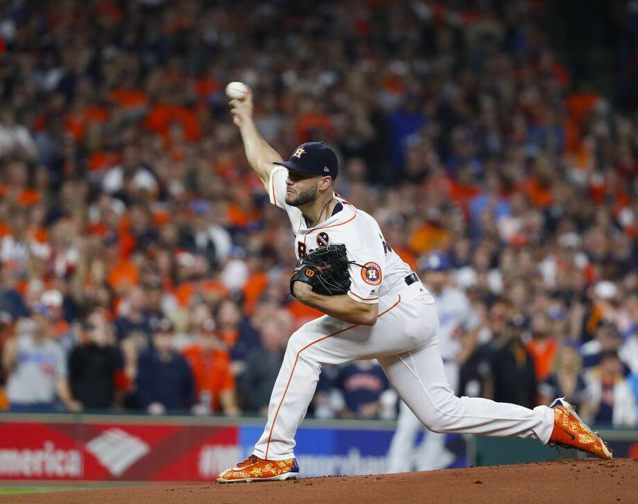 Houston Astros starting pitcher Lance McCullers Jr. (43) pitches in the first inning of Game 3 of the World Series at Minute Maid Park on Friday, Oct. 27, 2017, in Houston. Photo: Karen Warren/Houston Chronicle