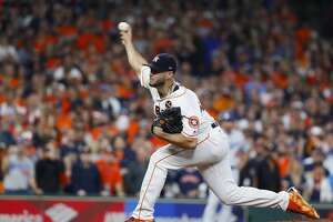 Houston Astros starting pitcher Lance McCullers Jr. (43) pitches in the first inning of Game 3 of the World Series at Minute Maid Park on Friday, Oct. 27, 2017, in Houston.