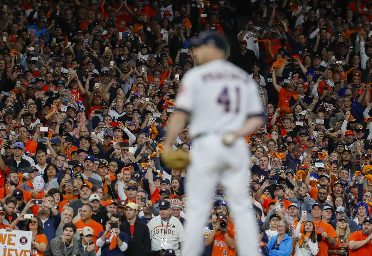 Houston Astros starting pitcher Brad Peacock (41) pitches in the ninth inning of Game 3 of the World Series at Minute Maid Park on Friday, Oct. 27, 2017, in Houston.