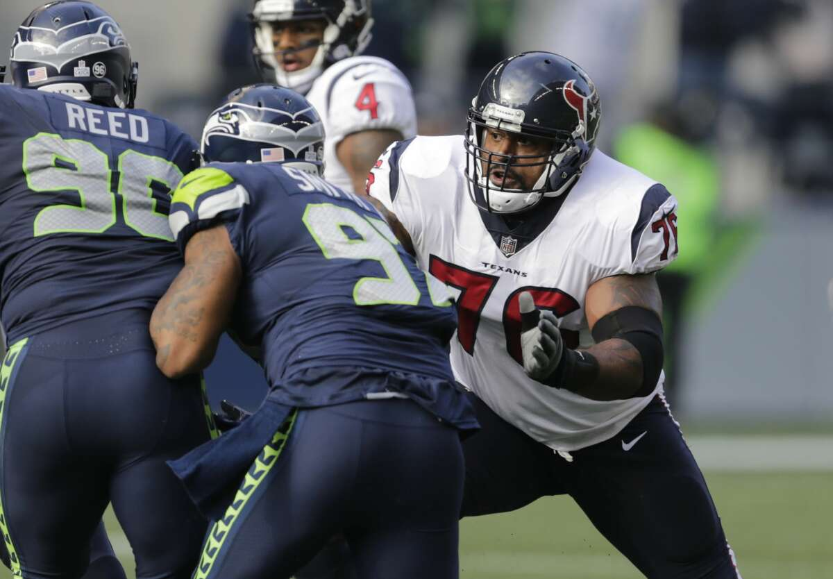 Houston Texans offensive tackle Duane Brown blocks in the first half of an NFL football game against the Seattle Seahawks, Sunday, Oct. 29, 2017, in Seattle. The Seahawks won the game 41-38. (AP Photo/Stephen Brashear)