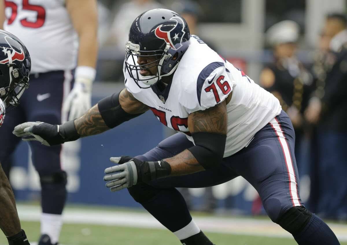 Houston Texans tackle Duane Brown on the field before an NFL football game against the Seattle Seahawks, Sunday, Oct. 29, 2017, in Seattle. (AP Photo/Stephen Brashear)