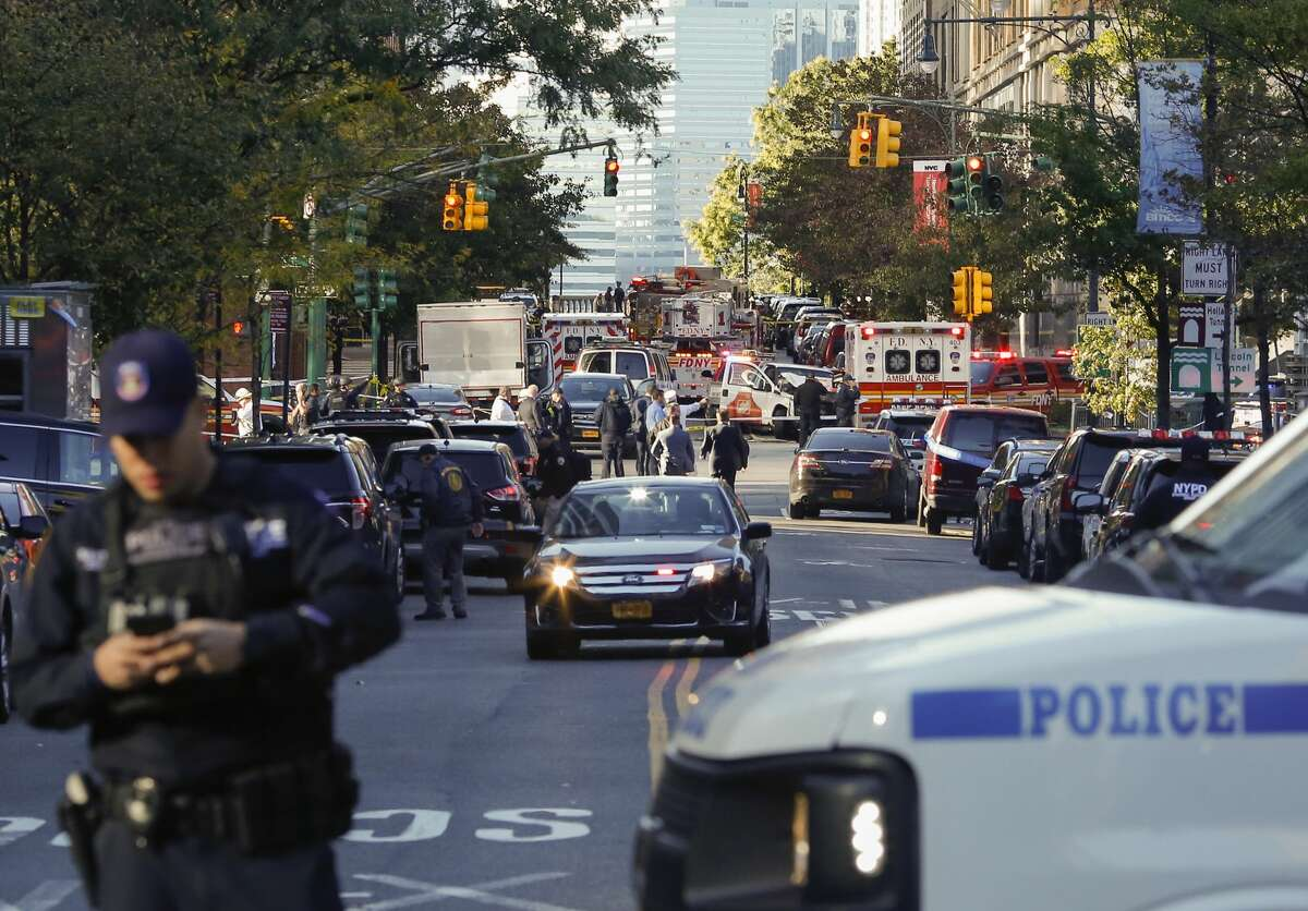 NYPD officers respond after reports of multiple people hit by a truck after it plowed through a bike path in lower Manhattan on October 31, 2017 in New York City. According to reports up to six people may have been killed.