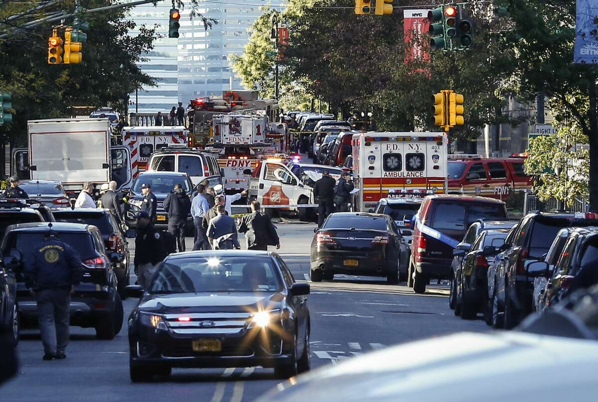 Emergency personal respond after reports of multiple people hit by a truck after it plowed through a bike path in lower Manhattan on October 31, 2017 in New York City. According to reports up to six people may have been killed.