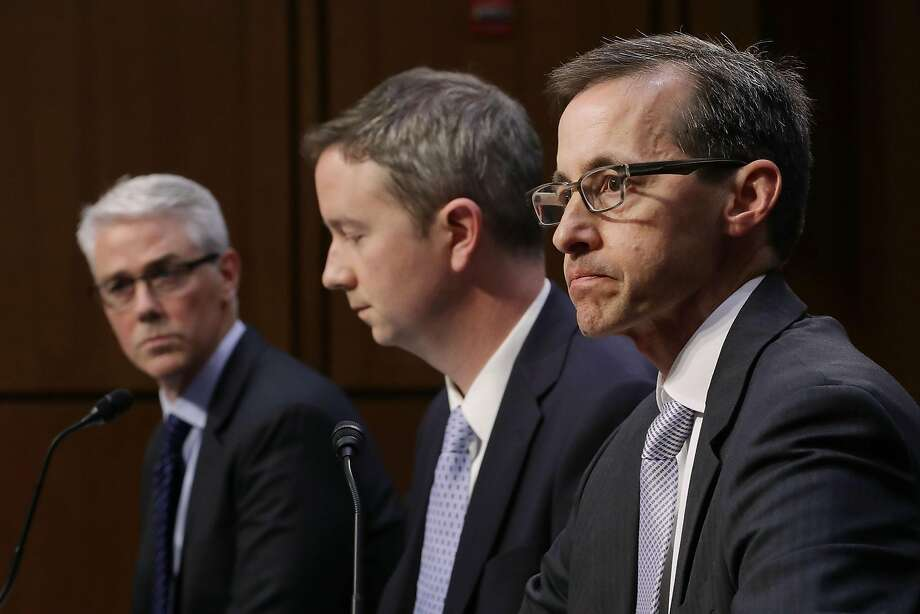WASHINGTON, DC - OCTOBER 31:  (L-R) Facebook General Counsel Colin Stretch, Twitter Acting General Counsel Sean Edgett, and Google Law Enforcement and Information Security Director Richard Salgado testify before the Senate Judiciary Committee's Crime and Terrorism Subcommittee in the Hart Senate Office Building on Capitol Hill October 31, 2017 in Washington, DC. The committee questioned the tech company representatives about attempts by Russian operatives to spread disinformation and purchase political ads on their platforms, and what efforts the companies plan to use to prevent similar incidents in future elections.  (Photo by Chip Somodevilla/Getty Images) Photo: Chip Somodevilla, Getty Images