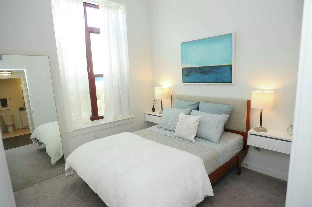 One of the bedrooms inside a two-bedroom apartment at the new Metro Green Terrace apartment complex on Atlantic Street in Stamford, Conn.