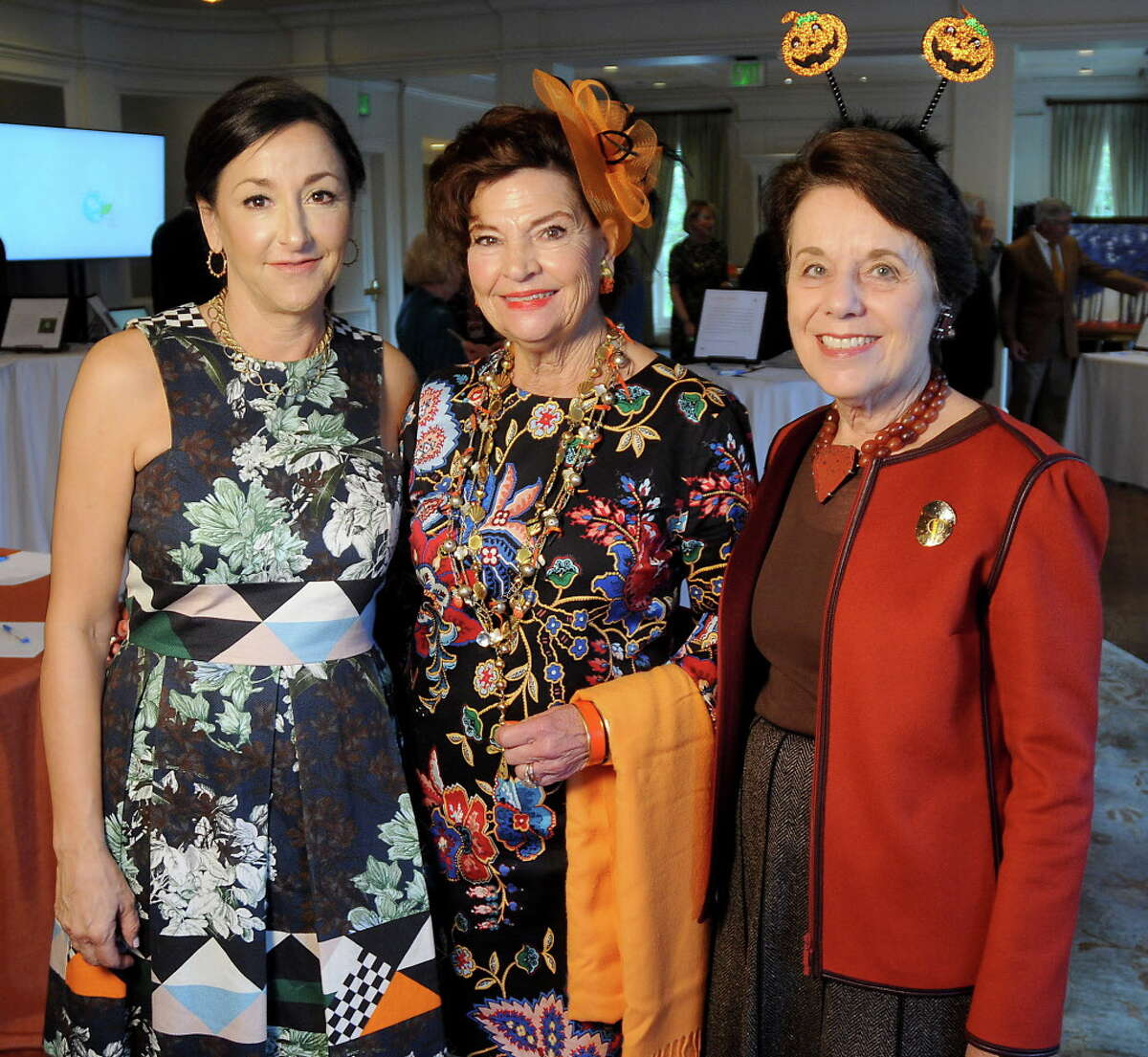 From left: Chairs Mary Beth Arcidiacono, Laura Wheless and Ginni Mithoff at he Houston Botanic Garden's Botanical Beginnings Luncheon at the River Oaks Country Club Tuesday Oct. 31, 2017.(Dave Rossman Photo)