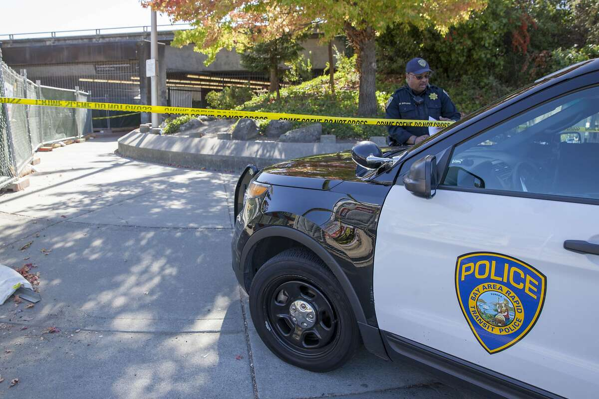 BART Police officers guards the closed entrance to the Lafayette BART Station after three people were stabbed during an altercation over the theft of a backpack at the Lafayette BART Station at around 10 a.m. Sunday in Lafayette, California, USA 8 Oct 2017. (Peter DaSilva/Special to The Chronicle)