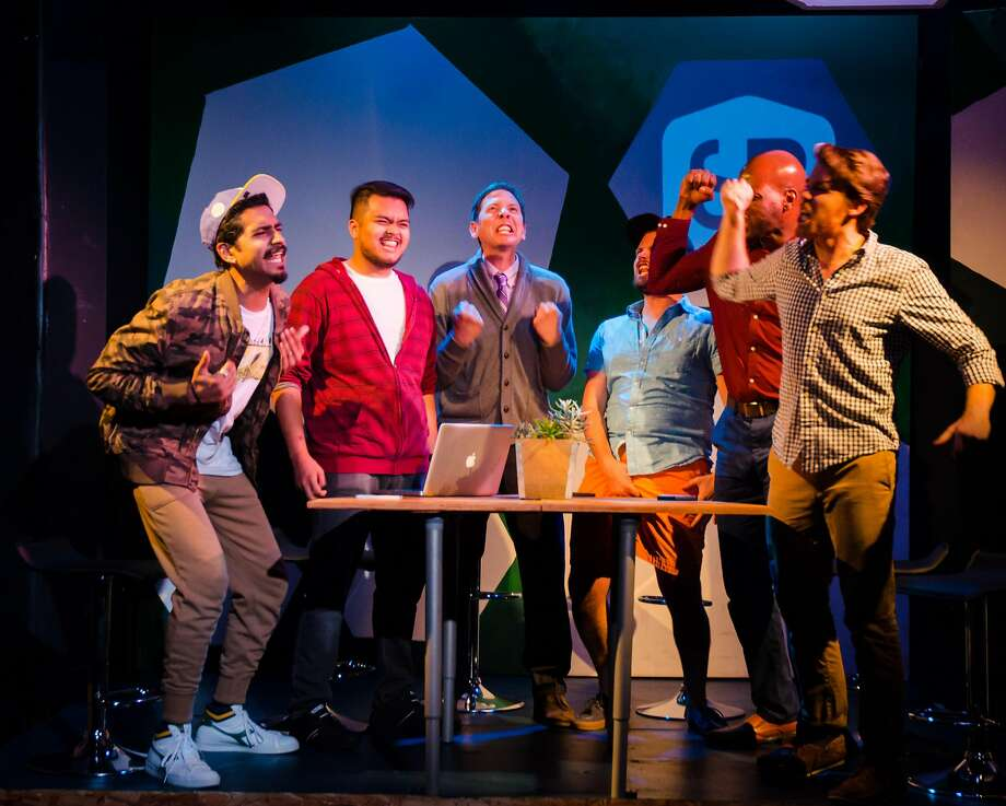 Heren Patel (left) as Some Other Dude, Jonathan Villaluz as Quiet Dude, Ryan Hayes as Head Dude, Kevin Glass as Dudest of the Dudes, Derek Jones as Another Dude and Brennan Pickman-Thoon as Dude. Photo: Clive Walker, FaultLine Theater