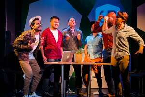 """From left:�Heren Patel as Some Other Dude, Jonathan Villaluz as Quiet Dude, Ryan Hayes as Head Dude, Kevin Glass as Dudest of the Dudes, Derek Jones as Another Dude and Brennan Pickman-Thoon as Dude in FaultLine Theater's """"#bros."""""""