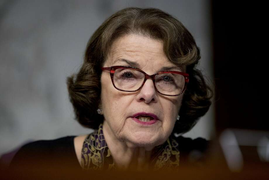 Sen. Dianne Feinstein, D-Calif., speaks as Facebook's General Counsel Colin Stretch, Twitter's Acting General Counsel Sean Edgett, and Google's Law Enforcement and Information Security Director Richard Salgado, testify during a Senate Committee on the Judiciary, Subcommittee on Crime and Terrorism hearing on Capitol Hill in Washington, Tuesday, Oct. 31, 2017, on more signs from tech companies of Russian election activity. (AP Photo/Andrew Harnik) Photo: Andrew Harnik, Associated Press