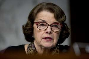 Sen. Dianne Feinstein, D-Calif., speaks as Facebook's General Counsel Colin Stretch, Twitter's Acting General Counsel Sean Edgett, and Google's Law Enforcement and Information Security Director Richard Salgado, testify during a Senate Committee on the Judiciary, Subcommittee on Crime and Terrorism hearing on Capitol Hill in Washington, Tuesday, Oct. 31, 2017, on more signs from tech companies of Russian election activity. (AP Photo/Andrew Harnik)