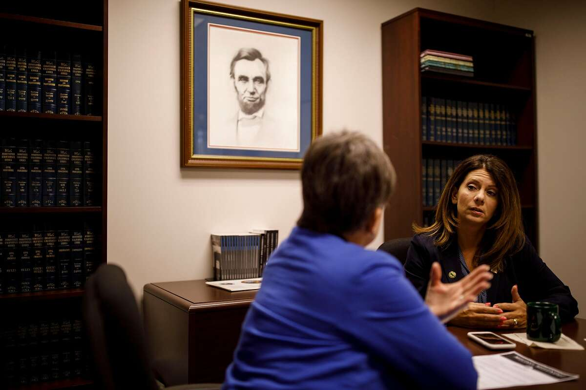 Republican Assemblywoman Melissa Melendez meets with Temecula Mayor Maryann Edwards in her office on Thursday, October 26, 2017 in Murrrieta, Calif. Melendez has authored a bill to extend whistle-blower protections to legislative staffers for the past four years and failed. She will try again in January. Melendez says the recent sexual harassment and sexual abuse allegations in and around the Capitol highlight the need for protections for legislative staffers. � 2017 Patrick T. Fallon for The San Francisco Chronicle