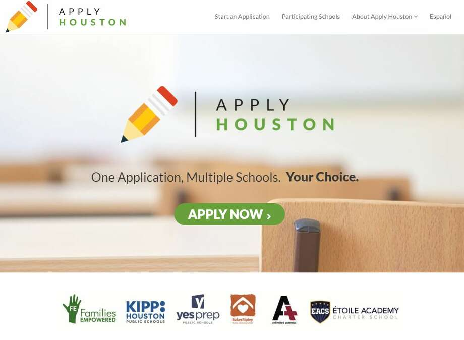 A snapshot of the web site applyhouston.org, which allows parents to apply to five Houston-area charter schools using one online application.