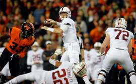 CORVALLIS, OR - OCTOBER 26:  Quarterback Keller Chryst #10 of the Stanford Cardinal throws against the Oregon State Beavers at Reser Stadium on October 26, 2017 in Corvallis, Oregon.  (Photo by Jonathan Ferrey/Getty Images)