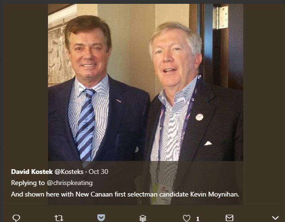 Shortly after Paul Manafort was indicted on federal conspiracy charges a picture of First Selectman candidate Kevin Moynihan and Manafort was shared on social media. Moynihan says the two were simply acquaintances. Photo: Contributed Photo / Hearst Connecticut Media / New Canaan News