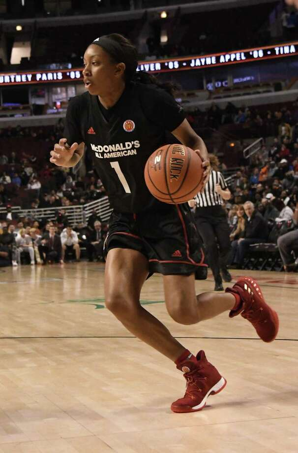 Mikayla Coombs drives during the 2017 McDonalds's All American Game on March 29 at the United Center in Chicago. Photo: David Banks / Getty Images / 2017 Getty Images