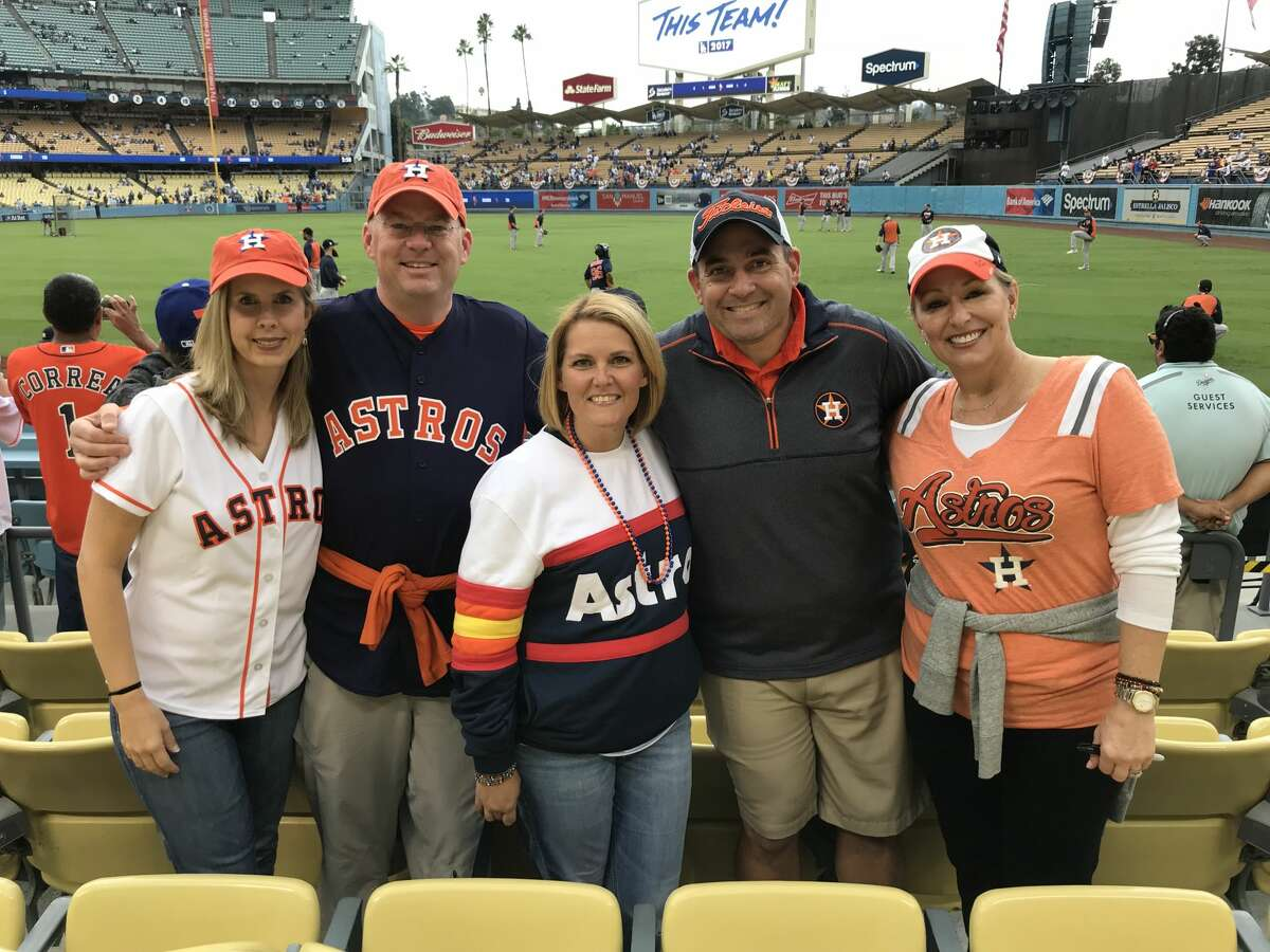 Carolyn Atkinson, Doug Atkinson, Brandy Damico, Paul Damico and Sheri Culberson flew into Los Angeles from Houston to watch the Astros play the Dodgers in Game 6.