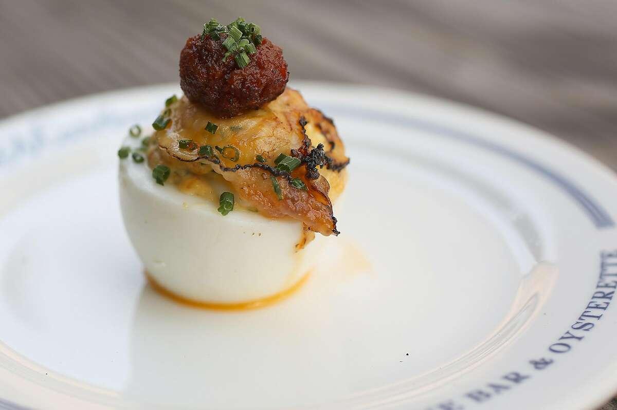 Spicy porc deviled egg -- made with nduja & lardo -- at Petit Marlowe.