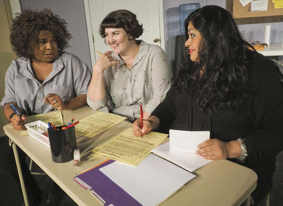 Eric Anthony, Estelle Esparza and Priscilla Espinoza work on paperwork in a scene from Maverick Players Ladies Lounge. 10/30/17 Tim Fischer/Reporter-Telegram Photo: Tim Fischer/Midland Reporter-Telegram