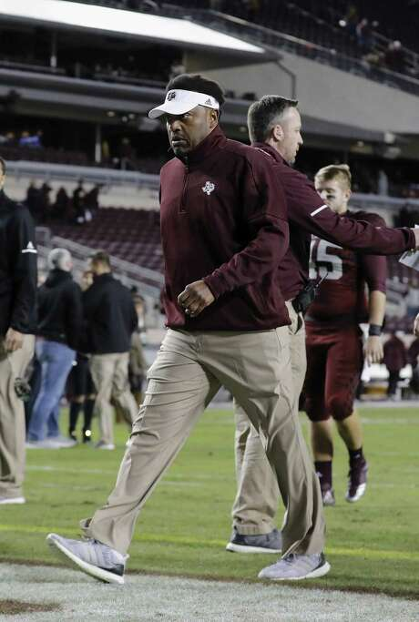 A&M coach Kevin Sumlin leaves the field after last week's loss to Mississippi State but insists it's not the start of another late-season slump. Photo: Tim Warner, Stringer / 2017 Getty Images