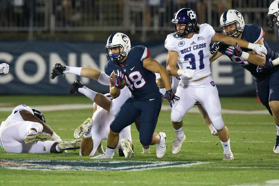 Shelton's Jason Thompson could get his second start for the UConn football team on Saturday. Photo: UConn Athletics / Stephen Slade