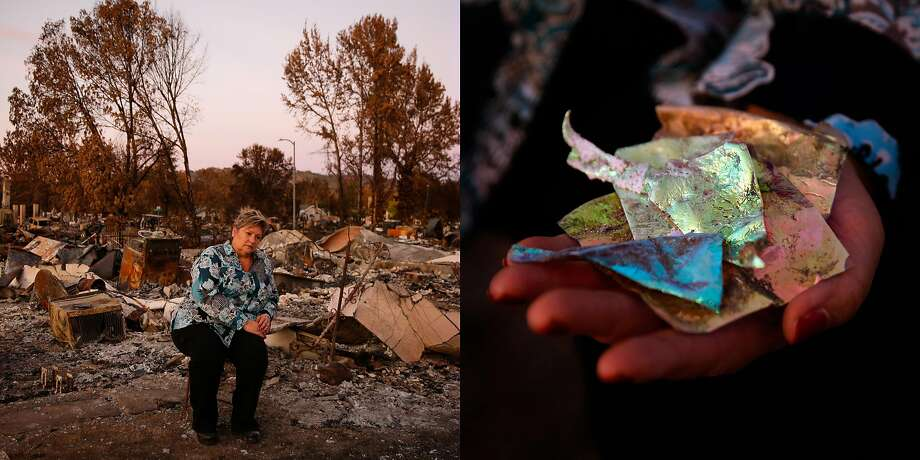 "Ruth Martin, 57 sits at the site of her destroyed home in the Coffey Park neighborhood of Santa Rosa, Calif., on Tuesday, Oct. 24, 2017. She lived in her home for 24 years before it was destroyed in the Tubbs fire.   Ruth, who worked for a company called Ocli found pieces of optics that she used to make.   Of finding them she said, ""I worked there (Ocli) for 22 years and everything was so beautiful and so unique and so different. We did mirrors for satellites and things for the hubble and night goggles for the service. This was some of the optics we made and it actually survived. They are 3.25 square optics that have been polished and ground to perfect flatness and then put into a thin film vacuum chamber. They were used for medical filters. I just think they're beautiful. I had a whole dish of all of these in the house. I'm hoping I'll find more. "" Photo: Gabrielle Lurie, The Chronicle"