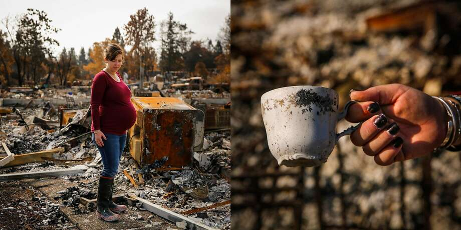 "Erin Ballard, 33, stands 9-months pregnant with her second child among the rubble of her destroyed home in the Coffey Park neighborhood of Santa Rosa, Calif., on Sunday, Oct. 29, 2017. The home was originally her grandparents and she said, ""I've known this property my entire life"".   Of the china dishes she found she says, ""These were my grandmothers. Finding these intact at least makes me feel a little bit better knowing that something survived. These were always our good china. You know they are full of memories of Easter and Thanksgiving. I remember when I was little I really liked this pattern and so when my grandmother passed away and I moved into my own house, I grabbed them as soon as I could. We can't eat off of them ever again but I will save them."" Photo: Gabrielle Lurie, The Chronicle"
