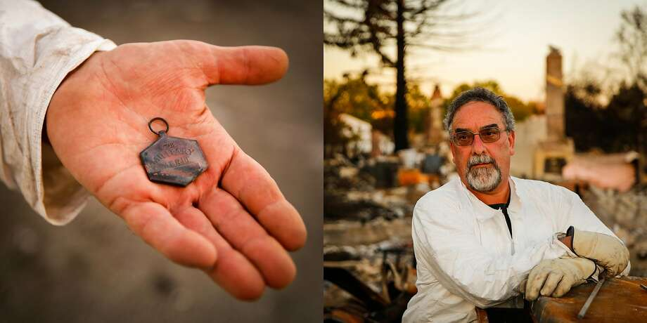 "Curtis Martin, 57 stands for a portrait on the property of his destroyed home in the Coffey Park neighborhood of Santa Rosa, Calif., on Tuesday, Oct. 24, 2017. He lived in his home for 24 years before it was destroyed in the Tubbs fire.   On the one thing he wanted to find he said, ""I found my Air Force Commendation medal that I got in 1982 and it meant a lot to me. I'm just really glad that I found it. I've been here four days and I found this in thirty-minutes on the first day and its like score!  It was in a little metal case and it was protected from the heat and it survived. Once I found that my biggest project was done. "" Photo: Gabrielle Lurie, The Chronicle"