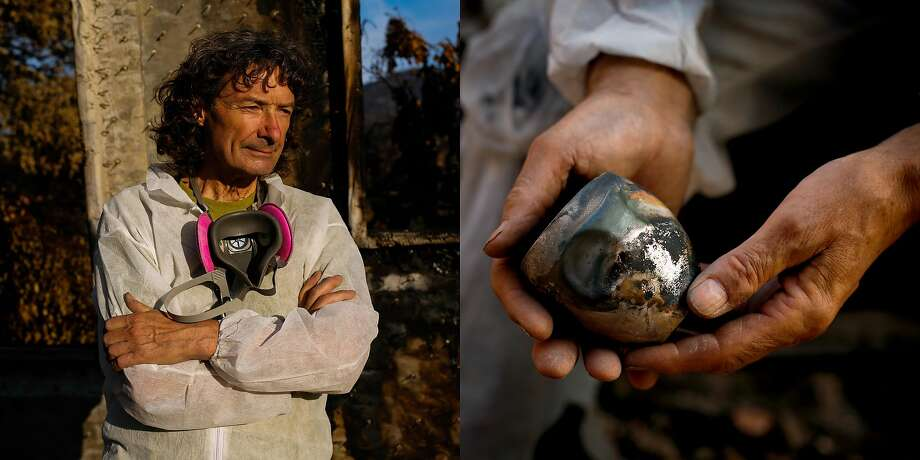 "Artist Clifford Rainey, 69, stands for a portrait among his destroyed home in Napa, Calif., on Sunday, Oct. 29, 2017.  On finding his silver cup made by friend and artist Brian Williamson he says, ""A school friend in London who is a very good silversmith made this silver cup for me many years ago as a present. It's a dimple cup for sipping whisky. And I woke up in the middle of the night last week and thought, I've gotta find that cup and I searched and didn't think I'd find it because silver has such a low melting point but I found it.   The cup has a lot of meaning for me. I was very surprised to find it. I wasn't expecting it. It literally is one of the few things that survived and it's one of the only things I wanted to find. For me the cup is everything.     On the aftermath of the fire, ""It's just, you know, trying to come to terms with everything being gone. The loss of my studio is what is really killing me. It's just amazing that things can just get wiped out in a fire. It's hard. it's just what it is. It's nature. I don't think you can wrap your ahead this. I'm usually good at dealing with stuff but this is too much."" Photo: Gabrielle Lurie, The Chronicle"