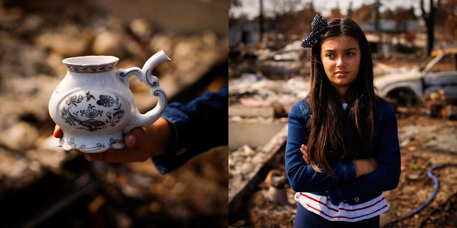 Katerina Hawley, 9 stands among the rubble of her grandmothers destroyed home in the Coffey Park neighborhood of Santa Rosa, Calif., on Sunday, Oct. 29, 2017. Her grandmother won't go back to see the property but Katerina went to collect whatever she was able to find for her. The family sent her grandmother to Hawaii so she wouldn't have to see the destruction. 