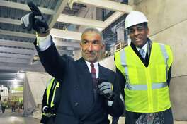 Dr. Alain E. Kaloyeros, left, Senior Vice President and Chief Executive Officer, College of Nanoscale Science and Engineering and SUNY chairman Carl McCall tour NanoFab X onTuesday, Feb. 14, 2012in Albany, N.Y.   (John Carl D'Annibale / Times Union archive)