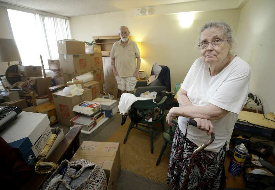 Peg Sauter and her husband, Ron Sauter, talk about having to move from their apartment in 2100 Memorial, a building for seniors that's flooded numerous times, shown Tuesday, Sept. 26, 2017, in Houston.  (Melissa Phillip | Houston Chronicle) Photo: Melissa Phillip | Houston Chronicle