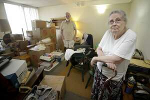 Peg Sauter and her husband, Ron Sauter, talk about having to move from their apartment in 2100 Memorial, a building for seniors that's flooded numerous times, shown Tuesday, Sept. 26, 2017, in Houston.  (Melissa Phillip | Houston Chronicle)