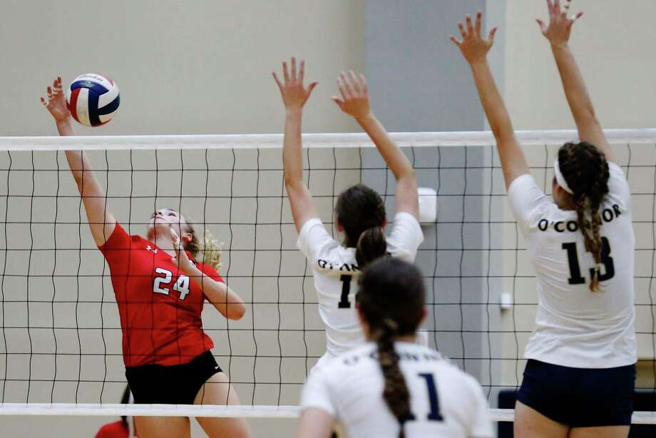 New Braunfels Canyon's Lauren Woitena earned MVP honors at the Katy/Cy-Fair tourney this past weekend. The outside hitter totaled 83 kills, 70 digs, five aces and five blocks as the Cougarettes went 8-0 to capture the crown. Photo: Kin Man Hui / San Antonio Express-News / ©2017 San Antonio Express-News