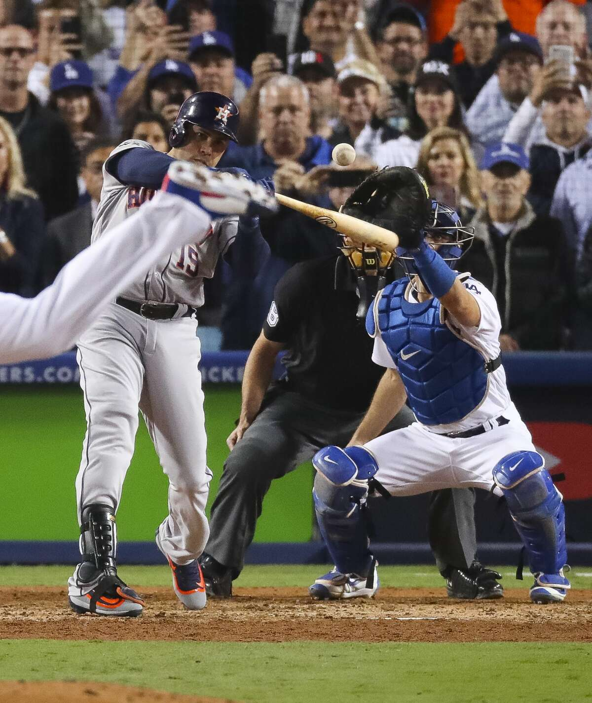 Houston Astros designated hitter Carlos Beltran (15) striking out to end Game 6 of the World Series at Dodger Stadium on Tuesday, Oct. 31, 2017, in Los Angeles.