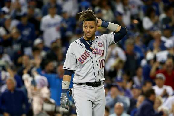 LOS ANGELES, CA - OCTOBER 31:  Yuli Gurriel #10 of the Houston Astros reacts during the sixth inning against the Los Angeles Dodgers in game six of the 2017 World Series at Dodger Stadium on October 31, 2017 in Los Angeles, California.  (Photo by Ezra Shaw/Getty Images)