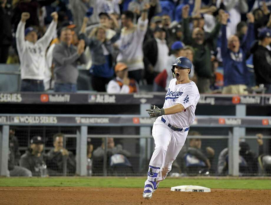 Palo Alto's Joc Pederson emotes after his third home run of the World Series capped the scoring in Game 6. Photo: Mark J. Terrill / Associated Press / Copyright 2017 The Associated Press. All rights reserved.