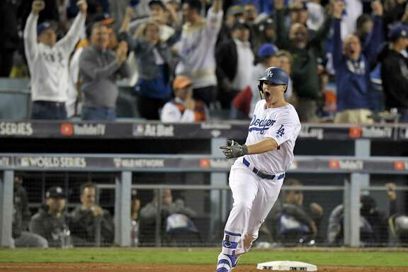 Palo Alto's Joc Pederson emotes after his third home run of the World Series capped the scoring in Game 6.