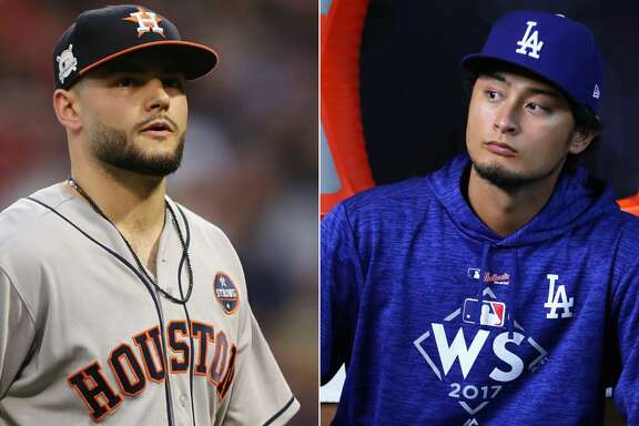 Split photo of Astros' Lance McCullers Jr. and Dodgers' Yu Darvish.