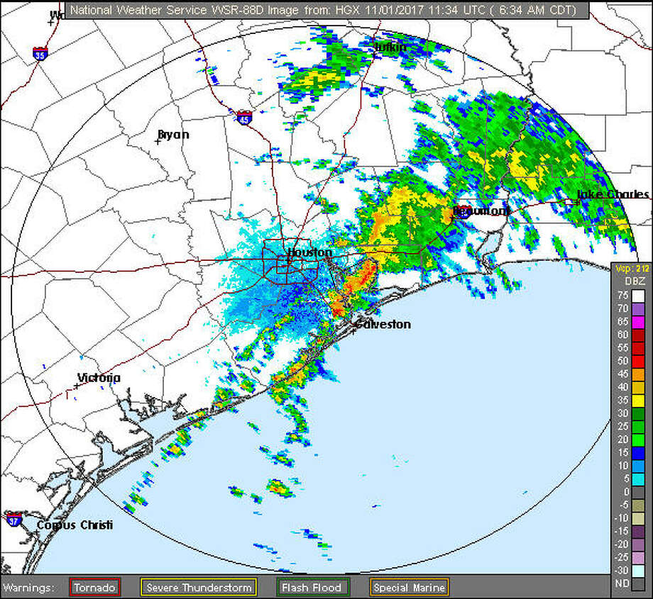 A screenshot of an HGX Radar image on Nov. 1, 2017. Wednesday, National Weather Service officials warned of showers and possible flooding throughout the day. Photo: File/National Weather Service