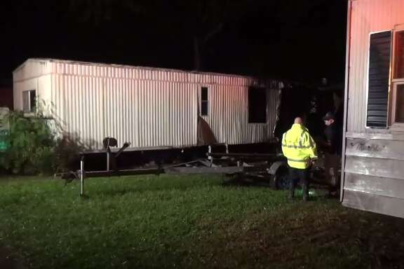 A man was found dead early Wednesday inside of a burning mobile home in Huffman. (Metro Video)