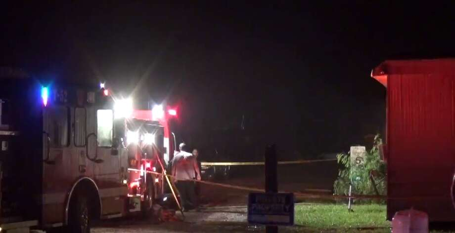 A man was found dead early Wednesday inside of a burning mobile home in Huffman. (Metro Video) Photo: Metro Video