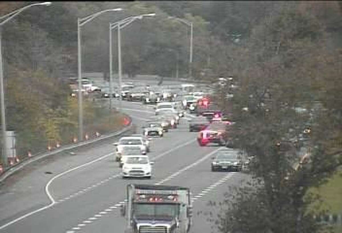 An accident has closed two southbound lanes of Route 7, just before the merge with I-95 on Wednesday, Nov. 1, 2017.
