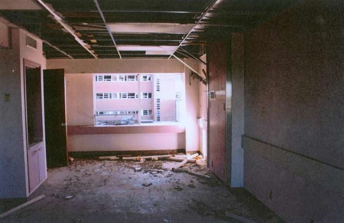 This photo taken by a Laredo Police Department investigator shows the deterioration of the interior of the Old Mercy Hospital.