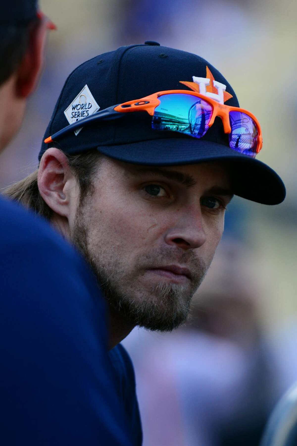 LOS ANGELES, CA - OCTOBER 25: Josh Reddick #22 of the Houston Astros looks on during batting practice prior to Game 2 of the 2017 World Series against the Los Angeles Dodgers at Dodger Stadium on Wednesday, October 25, 2017 in Los Angeles, California. (Photo by LG Patterson/MLB Photos via Getty Images)