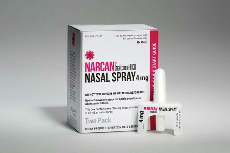 Narcan, a naloxone product that can save someone who has overdosed from opioid drugs, is now available at all Walgreens pharmacies -- including two of the Midland drugstores. (Courtesty of Walgreens) / Matthew Rakola