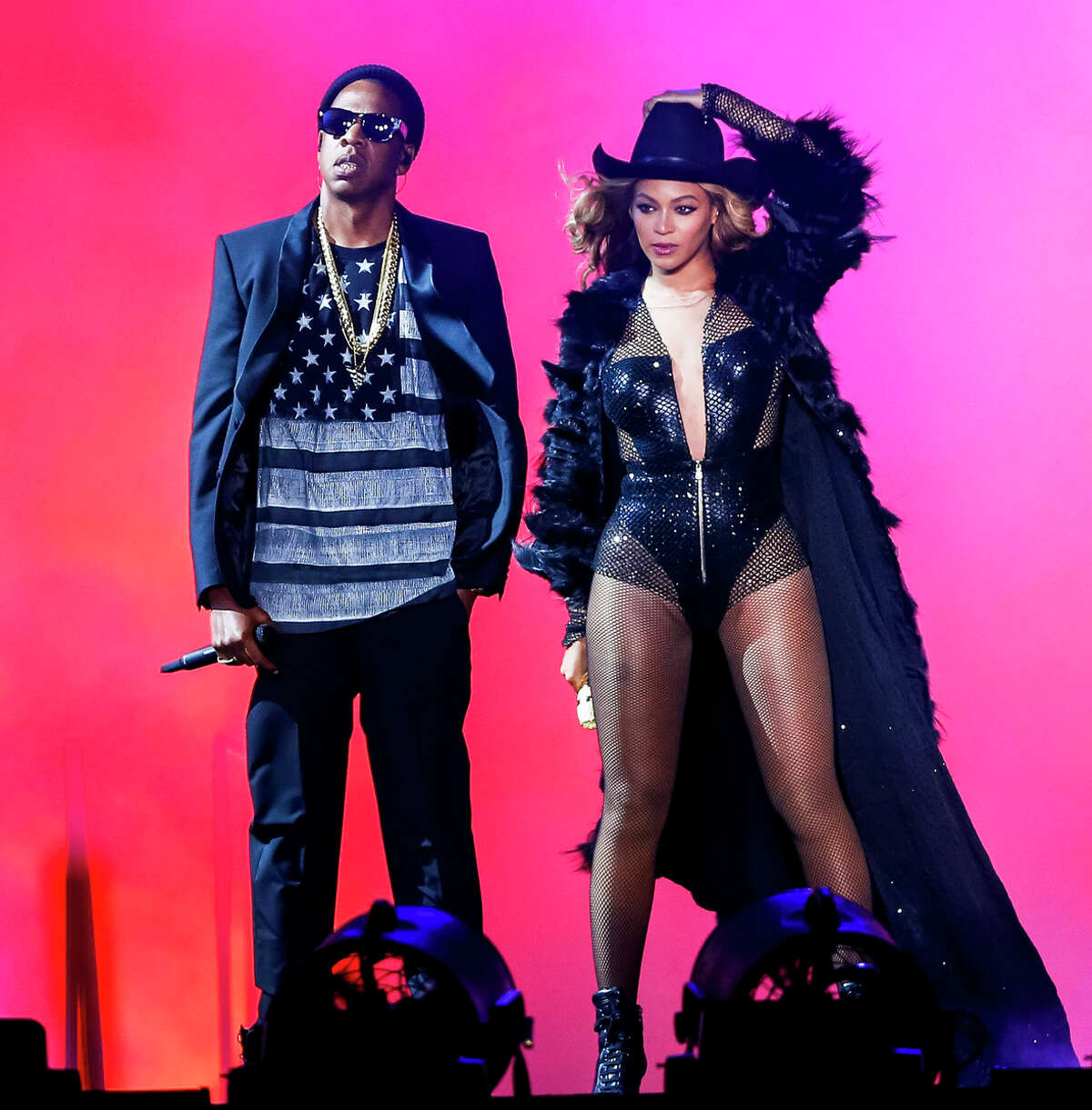 HOUSTON, TX - JULY 18: Beyonce and JAY Z perform on the On The Run Tour at the Minute Maid Park on Friday, July 18, 2014, in Houston, Texas. (Photo by Aaron M. Sprecher/PictureGroup).