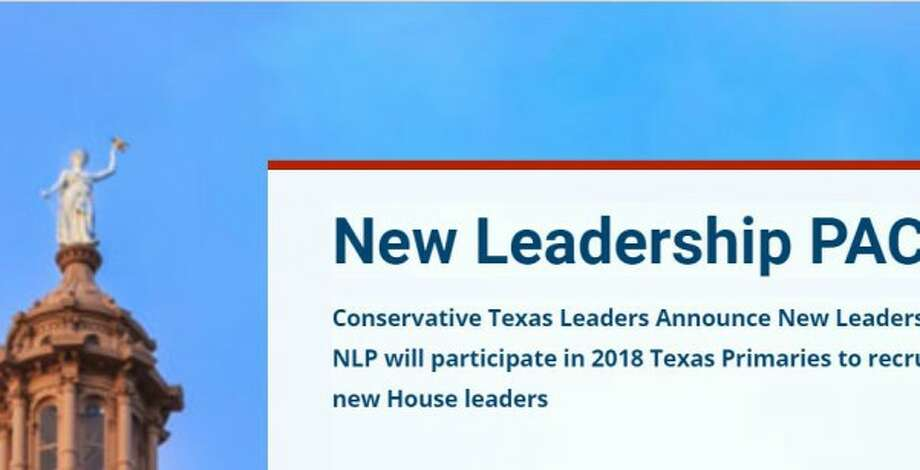 This imagery appeared on a New Leadership PAC web page showing a press release talking up changes in Texas House leadership (screen shot, October 2017).