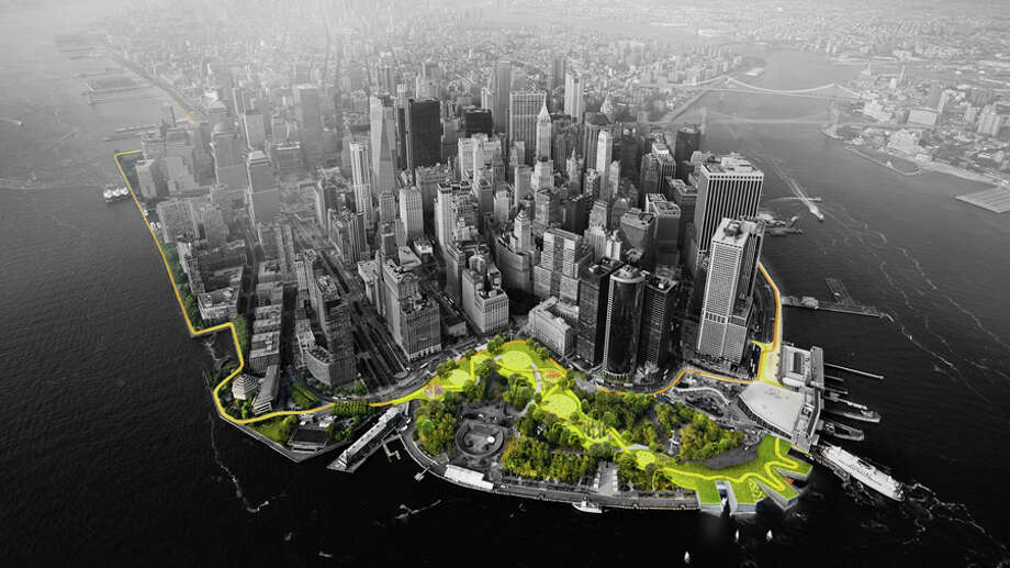 "Designed by BIG, ""The Big U"" is a 10-mile systems that would protect New York City against floods and stormwater and provide an improved public realm. Photo: BIG / Rebuild By Design"